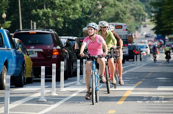 Riding in a bike lane