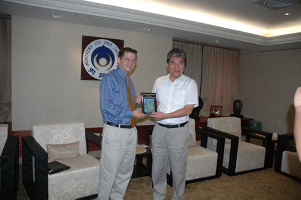 Royal Gardner presented Minister of Interior Li with a copy of Lawyers, Swamps, and Money while in Taiwan for a series of International Workshops for Wetland Conservation sponsored by the Taiwan Construction and Planning Agency.