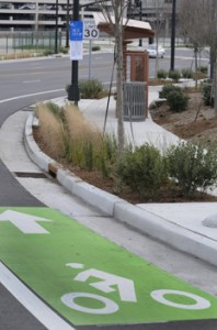 Nashville, TN has made many small improvements, including this bike lane and improved bus stop. (Photo by Gary Layda, City of Nashville)