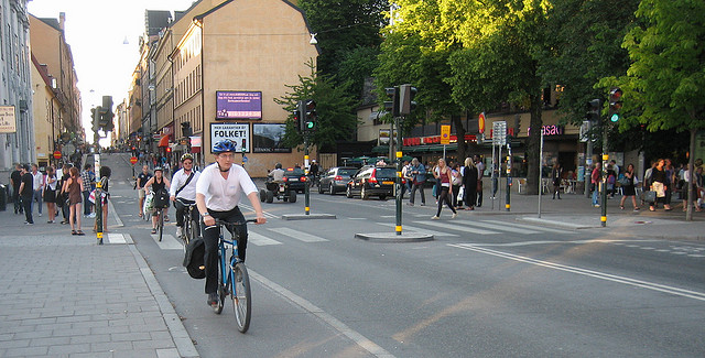 Complete streets make space for all forms of transportation. This one is in Stockholm. Photo by EURIST e. V., used under Creative Commons licensing.