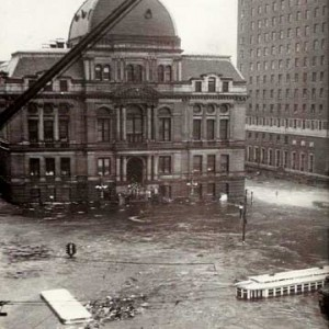 A 1938 photograph of flooding in downtown Providence during a hurricane. Photo via the Providence Public Library, used under Creative Commons licensing.