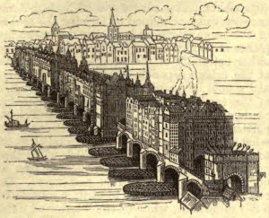 A woodcutting of London Bridge as it would have appeared in 1616.