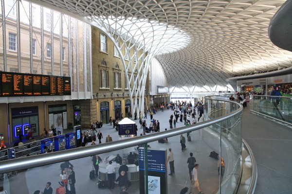 "The bravura ""umbrella"" roof at the Western Concourse addition to Kings Cross Station, London, by John MacAslan + Partners, architect"