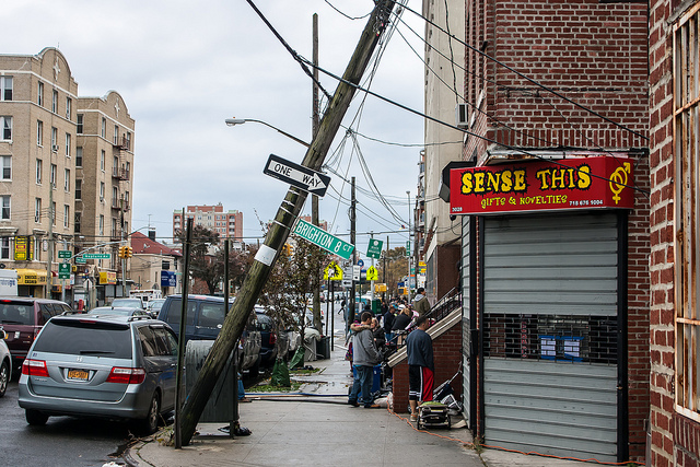 Power lines were among the many casualties of Superstorm Sandy. Photo by drpavloff, used under Creative Commons licensing.