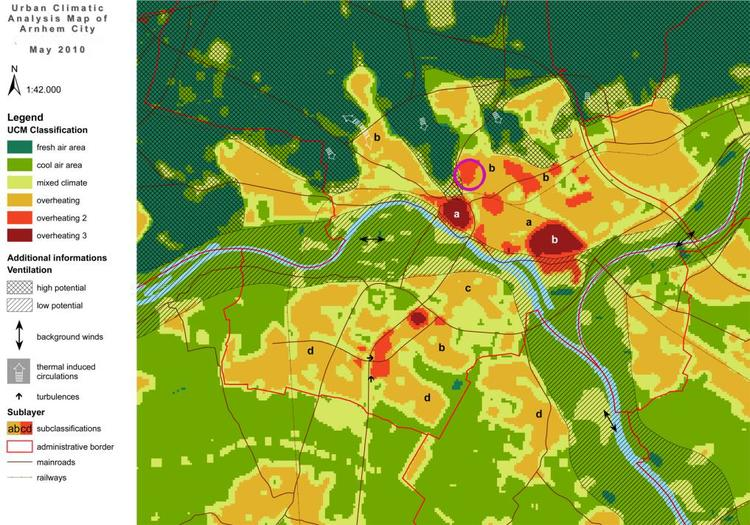 Urban climate map of Arnhem, Netherlands