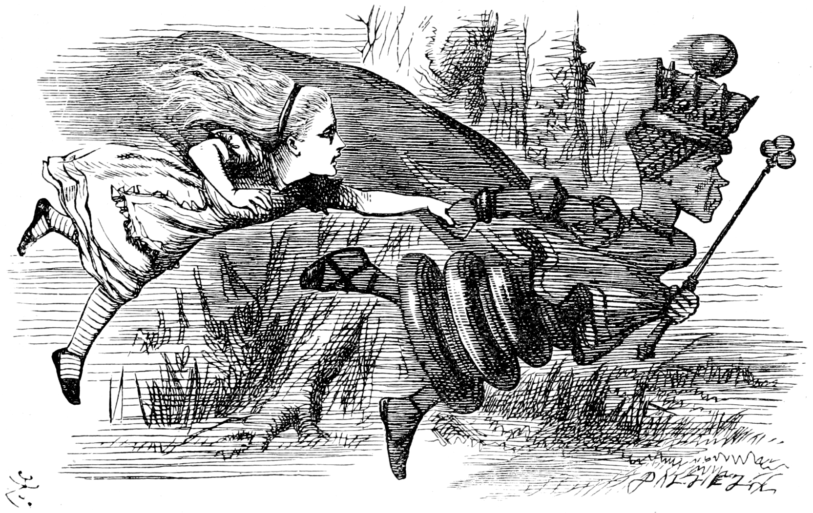 The Red Queen shows Alice how fast you have to run just to keep up. Drawing by John Tenniel, in the public domain.