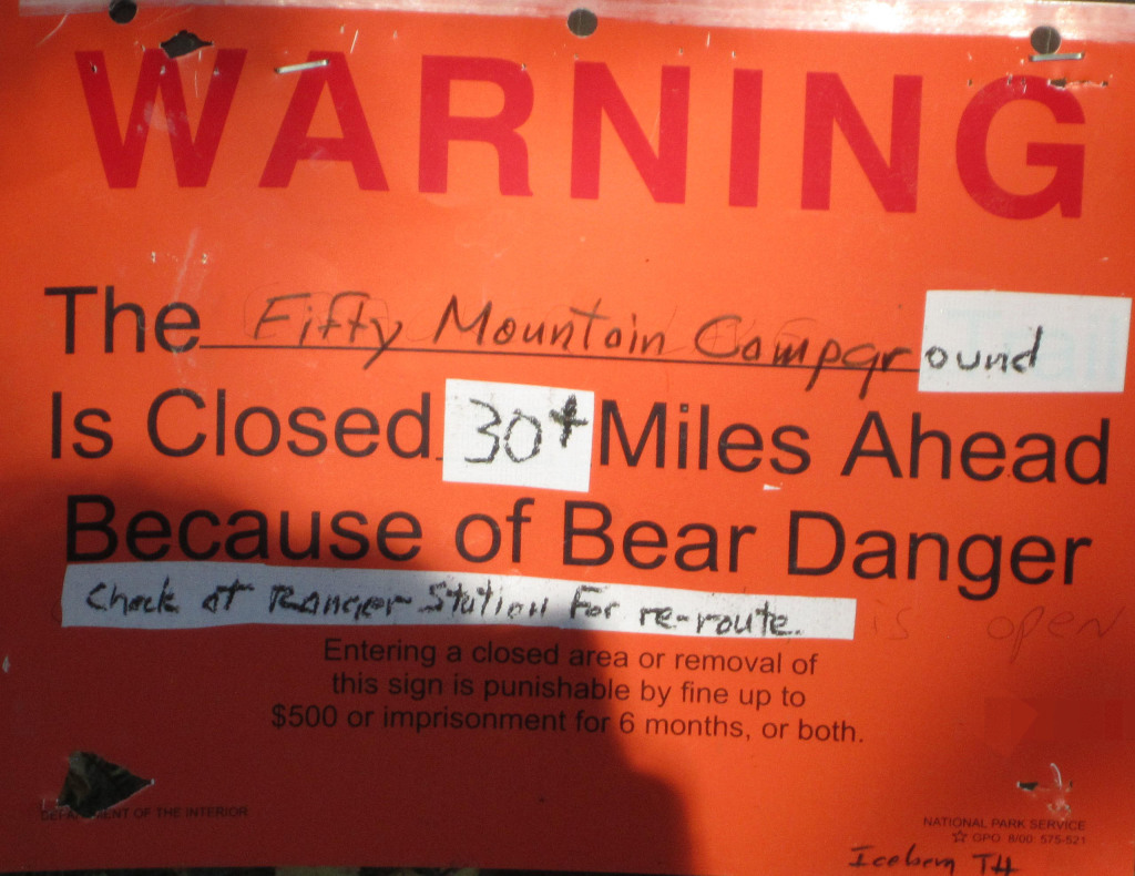 Trail closure sign. Photo by Emily Monosson.