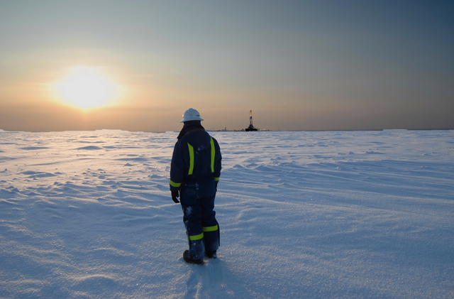 Receding sea ice in the Arctic is revealing a treasure trove of energy resources that were once inaccessible. Scientists, conservationists and some Inuit leaders believe that the pace of development is proceeding too quickly and without rules, regulations and standards to prevent spills and accidents. Photo credit: Edward Struzik.