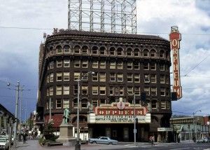 The Orpheum in 1967, photo by Lawton Gowey, featured on Seattle Now and Then.