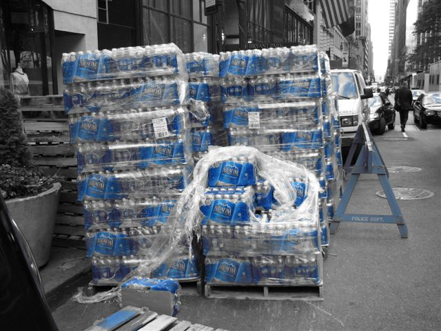 Bottled water in New York City. Photo by Kevin Coles, used under Creative Commons licensing.