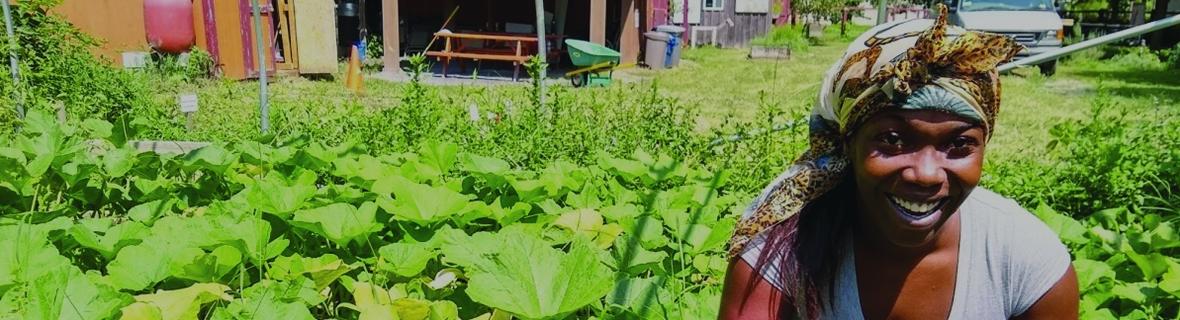 Ashleigh Mitchell in a garden