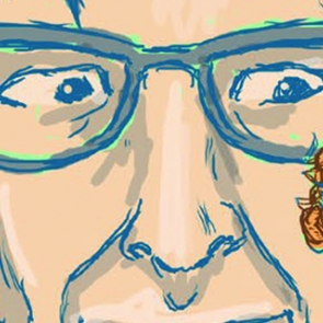 Drawing of EO Wilson with an ant