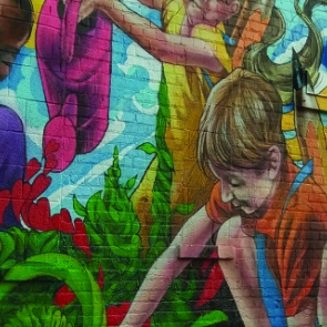 Mural of children gardening