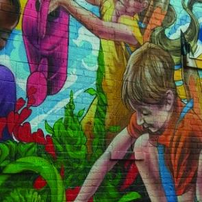 Mural of children gardening